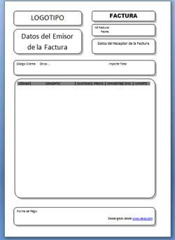 Plantilla Word Blanca para Facturas y Proforma para Microsoft Office 97,2003 y 2007