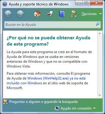 Windows WinHelp32 nodisponible