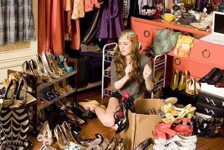 Armario y desorden de moda