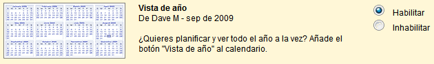 Vista de año en google Calendar