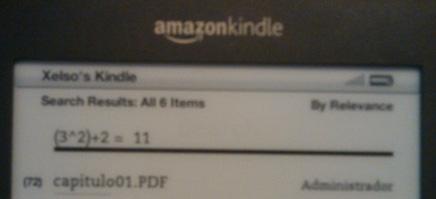 Operación matemática en el Kindle de Xelso