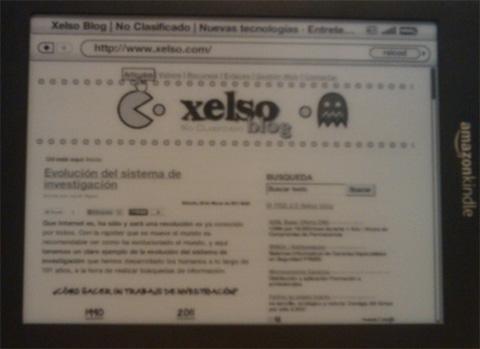 Kindle con la vista del Blog Xelso.com