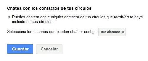 Menu Chatea con los contactos de tus círculos