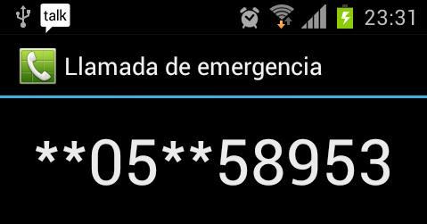 Samsung Galaxy s2 Llamada de emergencia con números