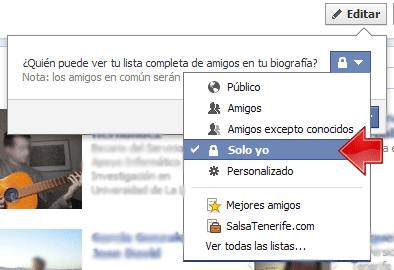 facebook amigos ocultar amigos Solo Yo
