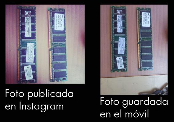 Diferencia de imágenes entre un foto sacada y otra guardada en el movil con instagram