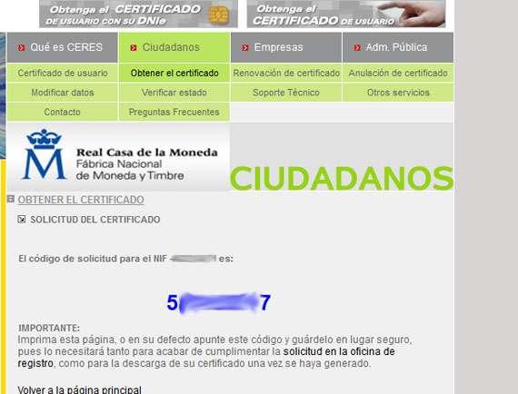 Número de obtención del certificado digital