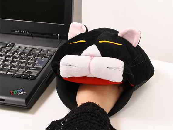 Alfombrilla calentador para el ratón con forma de gato,