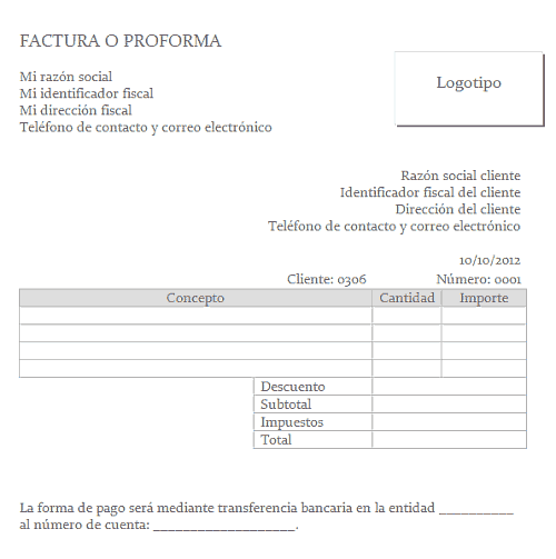 Plantilla de factura simple para Word