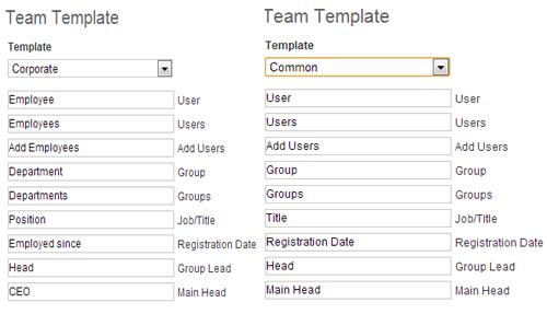 Dos ejemplos de plantillas de roles de usuario de Teamlab