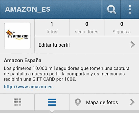 Perfil falso de Amazon Es (España) en Instagram