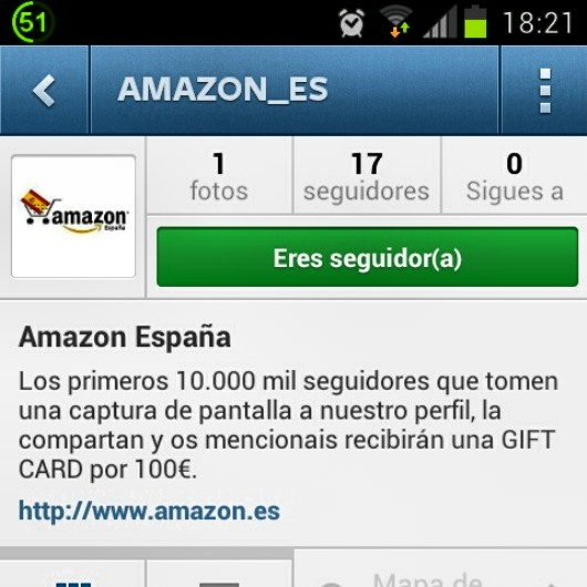 Mi captura al perfil de amazon_es que publique en Instragram