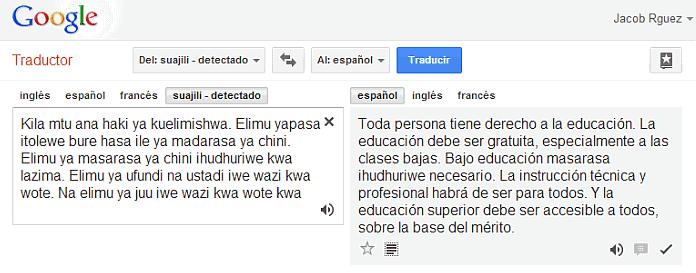 Detectar idiomas con Google Translator