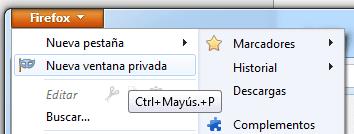 Firefox Navegación Privada